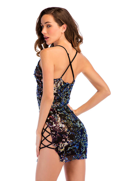 Colorful Strappy V-neck Sequin Mini Dress
