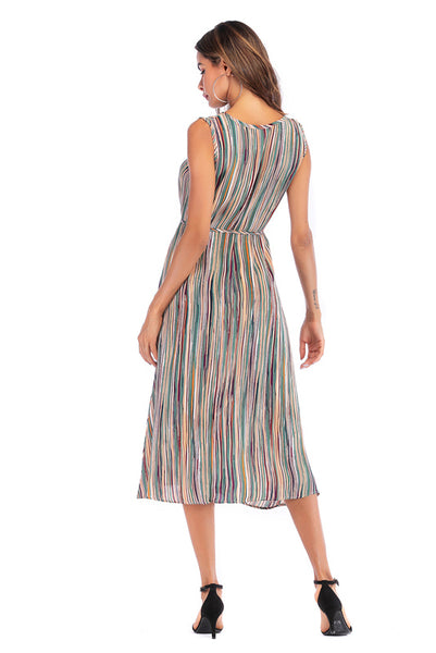Colorful Striped Lace-up Sleeveless Long Dress