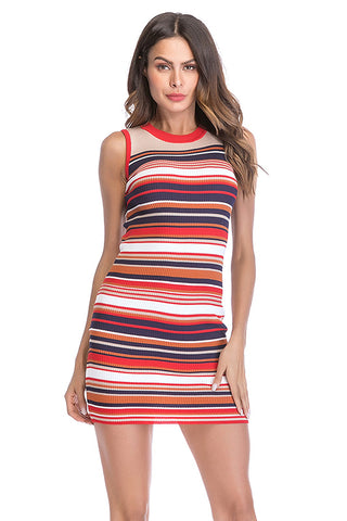 Colorful Striped Sleeveless Knit Fitted Dress