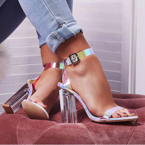 Ankle Strap Open-toe Chunky Heel Sandals Shoes