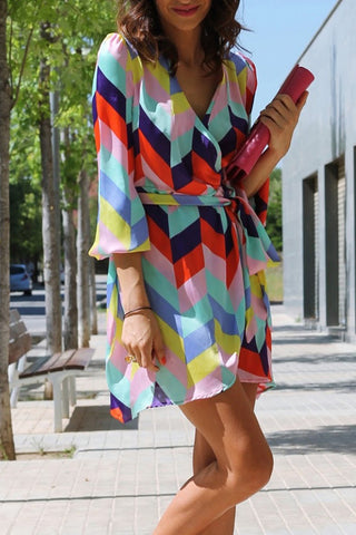 products / ColourfulGeometricPrintLace-upVacationDress_2.jpg