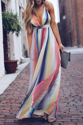 Colorful Halter V-neck Pleated Long Dress