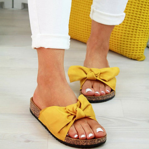 Comfort Flats Bowknot Decor Slippers