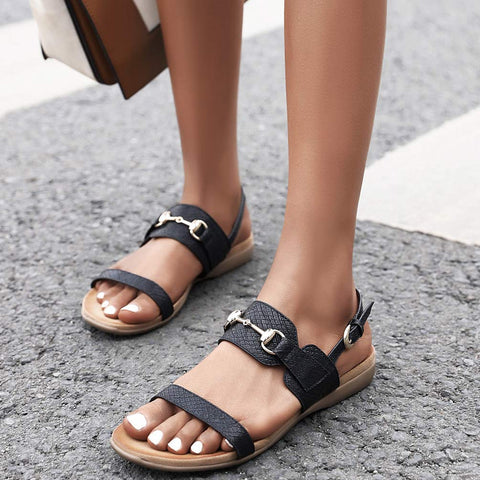 Comfort Flats Open Toe Sandals With Buckle