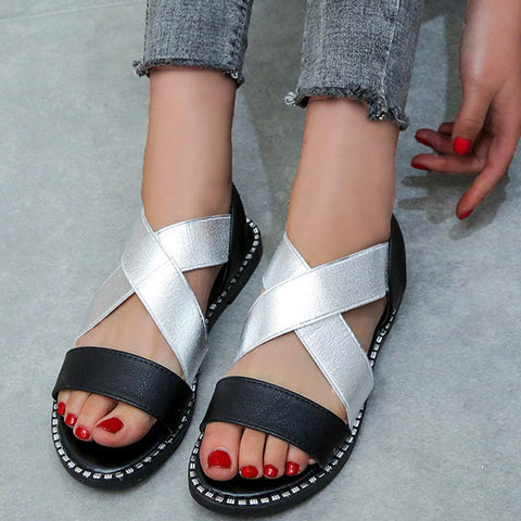 Comfort Two-tone Flats Crossover Sandals