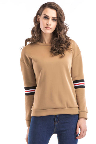 Contrast Striped Side Letter Embroidered Sweatshirt