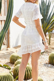 Crochet Eyelet Bowknot Ruffle Dress