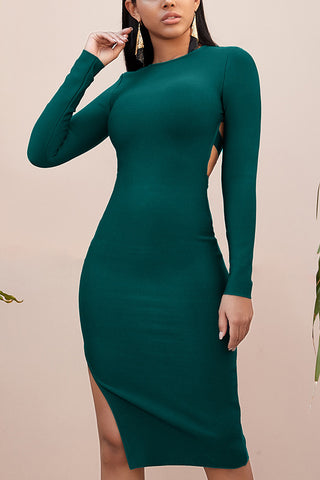 Cutout Back Long Sleeve Bandage Dress