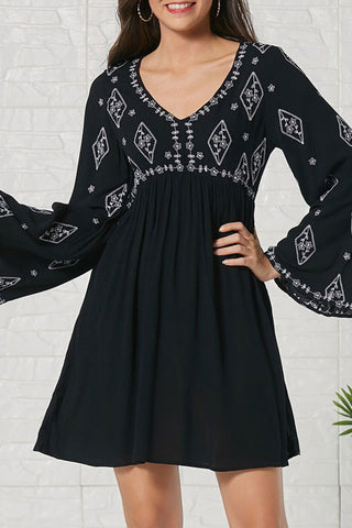 Black Cutout Back Embroidered Mini Dress
