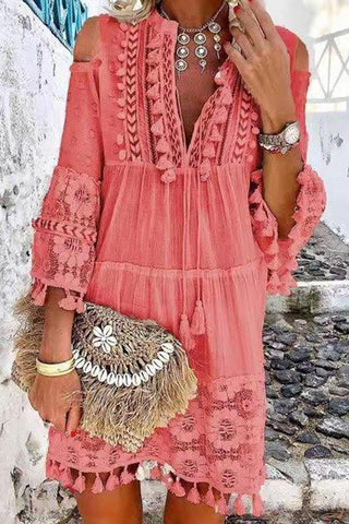 Cutout Shoulder Lace Tasseled Dress