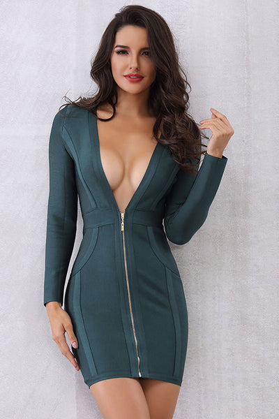 Dark Green Deep V-neck Mini Bandage Dress With Sleeves