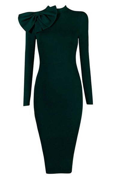 Dark Green High Neck Bandage Dress With Long Sleeves