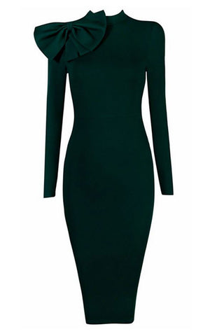 products/Dark-Green-High-Neck-Bandage-Dress-With-Long-Sleeves.jpg