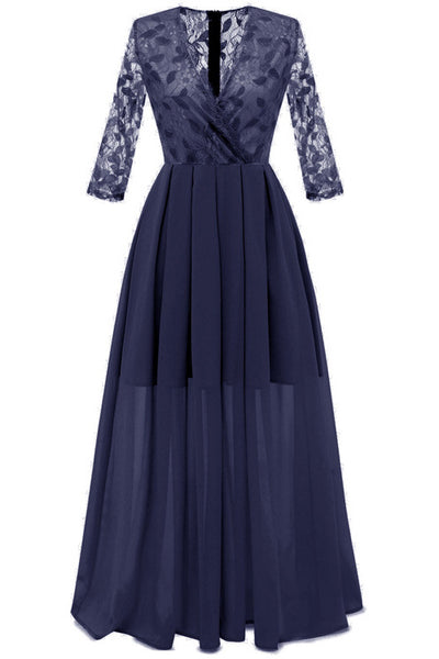 Dark Navy A-line Lace Prom Dress With Long Sleeves
