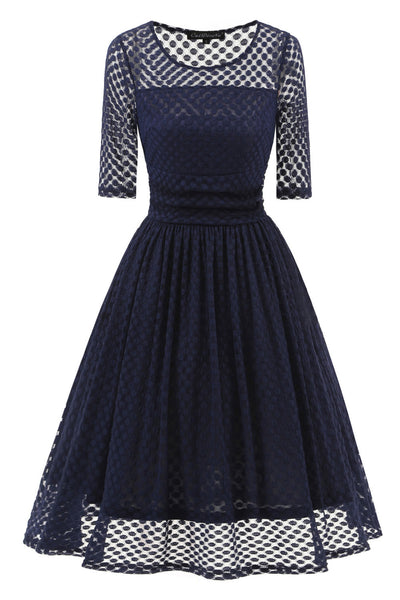 Dark Navy A-line Lace Prom Dress With Sleeves