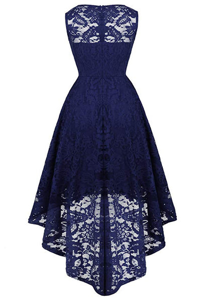 Dark Navy A-Linie Spitze Ärmellos High Low Abendkleid