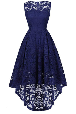 Dark Navy A-line Lace Sleeveless High Low Prom Dress