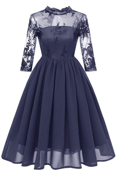Dark Navy Cut Out A-Linie Heimkehr Kleid mit Applikationen