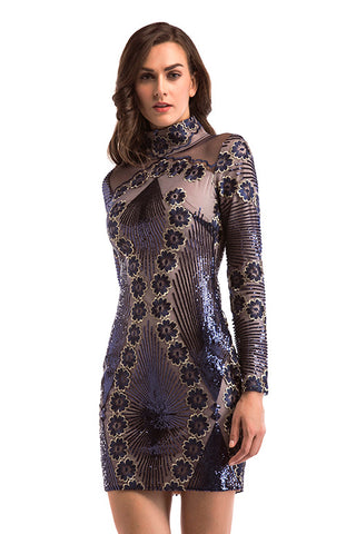 Dark Navy Embroidered Sequined Bodycon Dress With Long Sleeves
