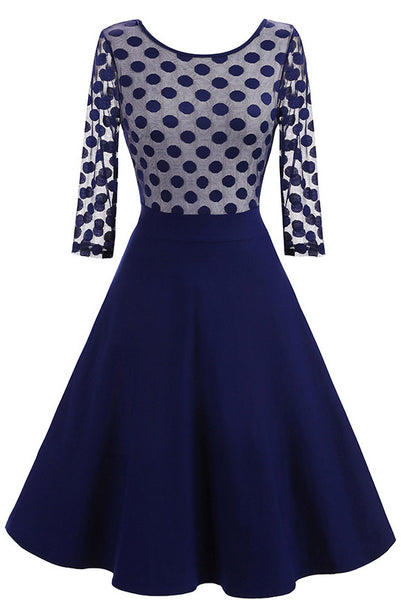 Dark Navy Fit And Flare Homecoming Dress With Long Sleeves