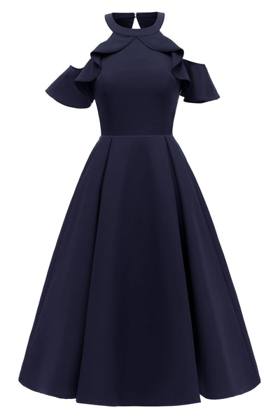 Dark Navy Fit And Flare Ruffled Off-the-shoulder Homecoming Dress