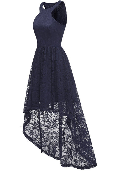 Dark Navy High Low Cut Out Prom Spitzenkleid