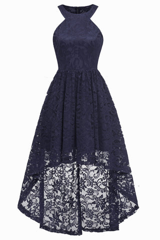 Dark Navy High Low Cut Out Lace Prom Dress