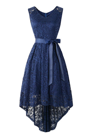 Dark Navy Knot Front High Low Lace Prom Dress