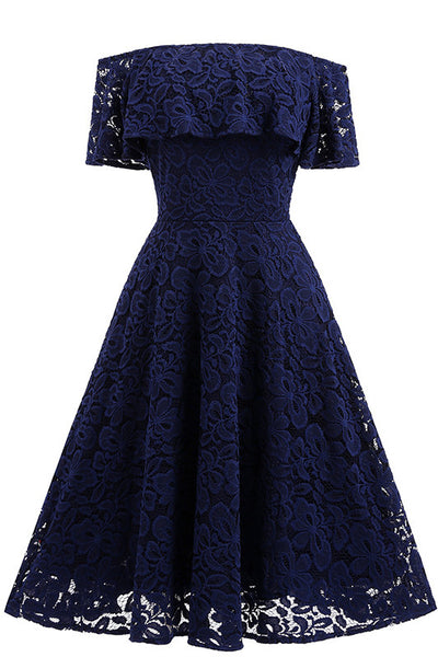 Dark Navy Lace A-Linie Homecoming Kleid
