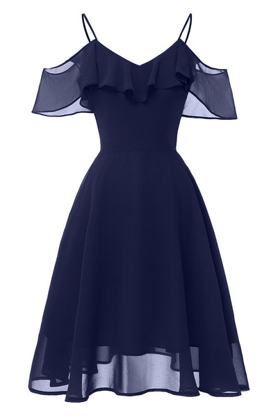 Dark Navy Off-the-shoulder A-line Spaghetti Strap Prom Dress