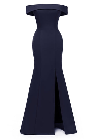 Dark Navy Off-the-shoulder Mermaid Prom Dress