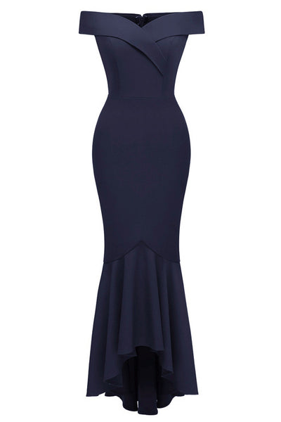 Dark Navy Off-the-shoulder Ruffled Prom Dress