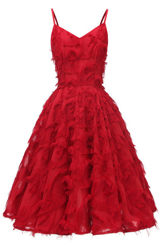 Dark Red Ruffled V-neck Homecoming Dress