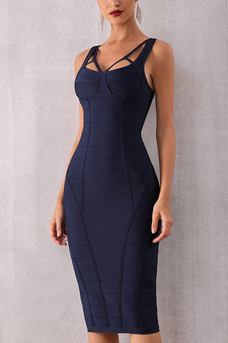 Dark Navy Open Back Bandage Dress