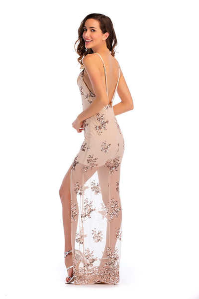 Deep V-Neck Sequined Slit See-through Long Dress