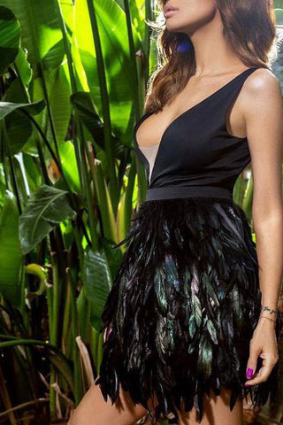 Deep V-neck Feather Sexy Black Little Dress