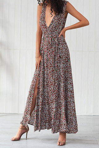 Deep V Neck Print Slit Dress
