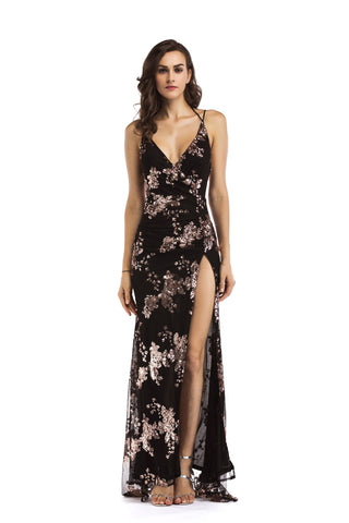 Deep V-neck High Slit Sequin Crisscross Lace-up Long Dress