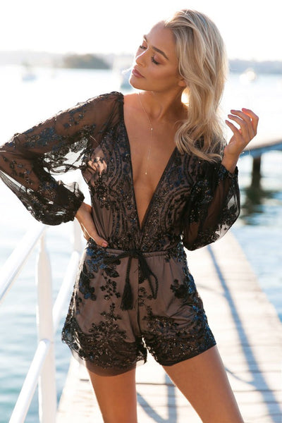 Deep V-neck Black Sequined Tie Front Romper