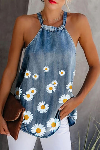 Denim Flower Scoop Tank Top