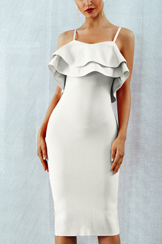 Double Ruffle Trim Bandage Slip Dress