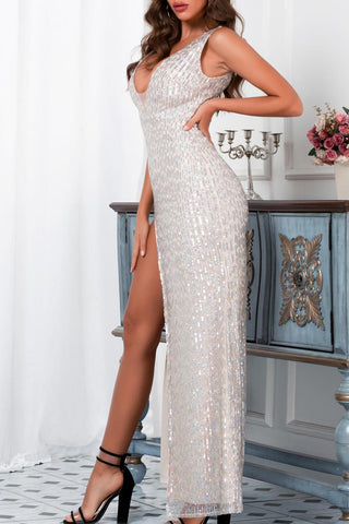 Double V-neck Slit Sequined Prom Dress