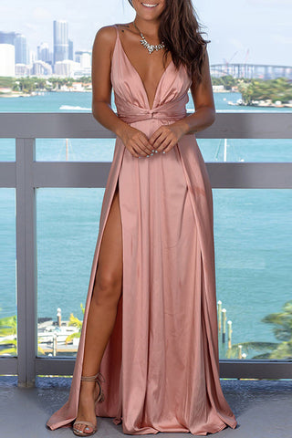 Double Plunge Neck Slit Side Maxi Dress