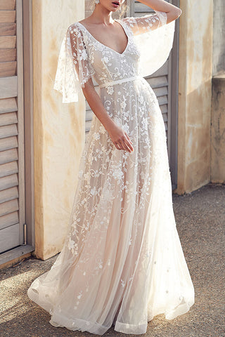 Double V-Neck Embroidered Long Dress