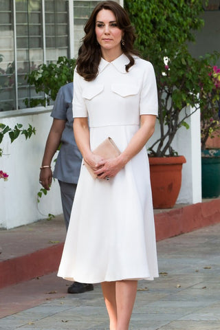 Elegant White Kate Middleton Cocktail Dress