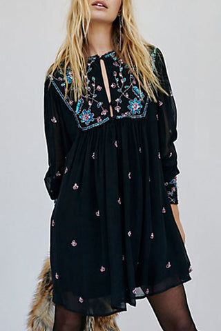 Black Embroidered Cutout Chiffon Mini Dress