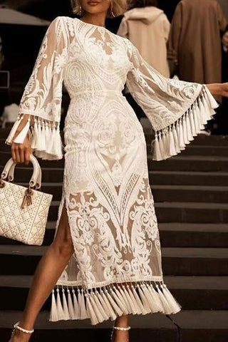 Embroidered Lined See Thru Tassel Dress