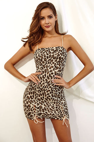 Leopard Print Strappy Lace-up Bodycon Dress