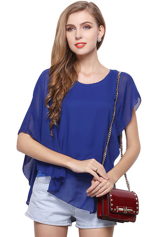 Falbala Sleeveless Asymmetrical Trim Chiffon Blouse