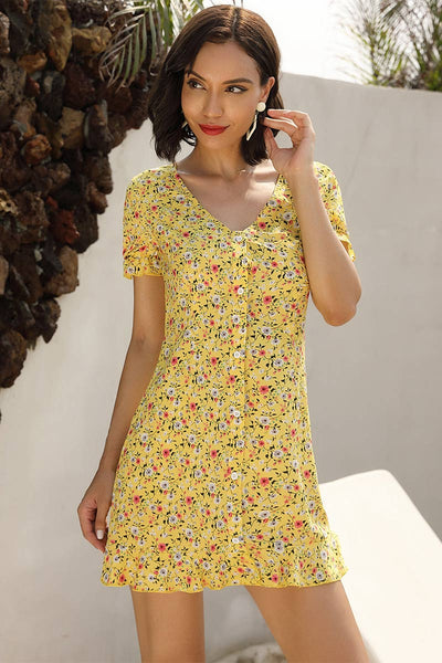 Falbala V Neck Single Breasted Floral Dress